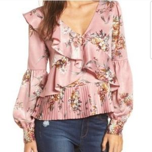 Leith Floral Silky Pleated Blouse